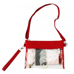 Clearworld Clear Crossbody Purse Bag - Stadium Approved Clear Tote Bag-Red