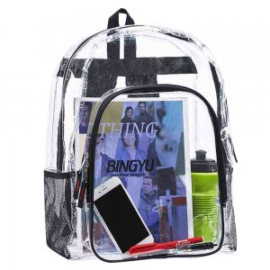 Clearworld Classic School Clear Transparent PVC Backpack-Black