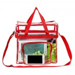 Clearworld Clear Tote Bag with Shoulder Strap & Front Pocket-Red