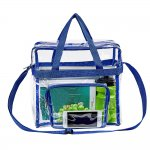 Clearworld Clear Tote Bag with Shoulder Strap & Front Pocket-Blue