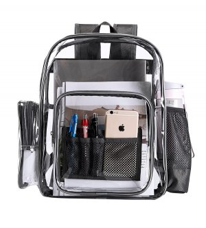 Clearworld Clear Durable Backpack For School, Travel with Multi Pockets-Black