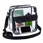 Clearworld Clear Cross-Body Messenger Shoulder Bag, Stadium Approved Clear Purse with Adjustable Strap Medium