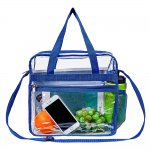 Clearworld Clear Bag Stadium Approved, Security Approved Clear Tote Bag with Multi-Pockets and Adjustable Shoulder Strap-Blue